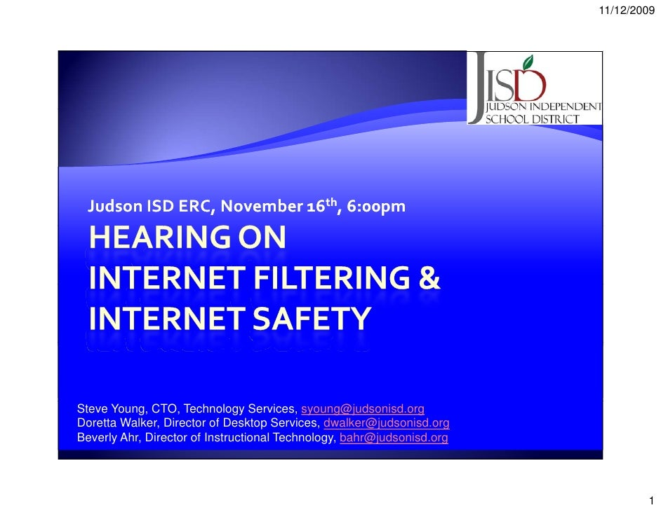 11/12/2009      Judson ISD ERC, November 16th, 6:00pm     Steve Young, CTO, Technology Services, syoung@judsonisd.org Dore...