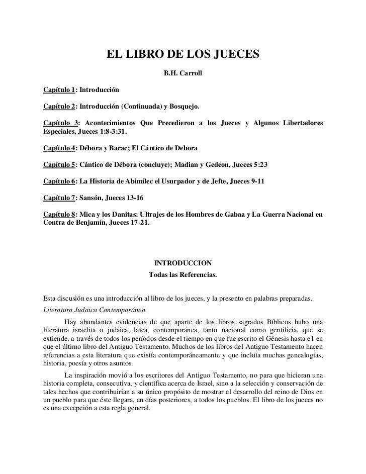 EL LIBRO DE LOS JUECES                                           B.H. CarrollCapítulo 1: IntroducciónCapítulo 2: Introducc...
