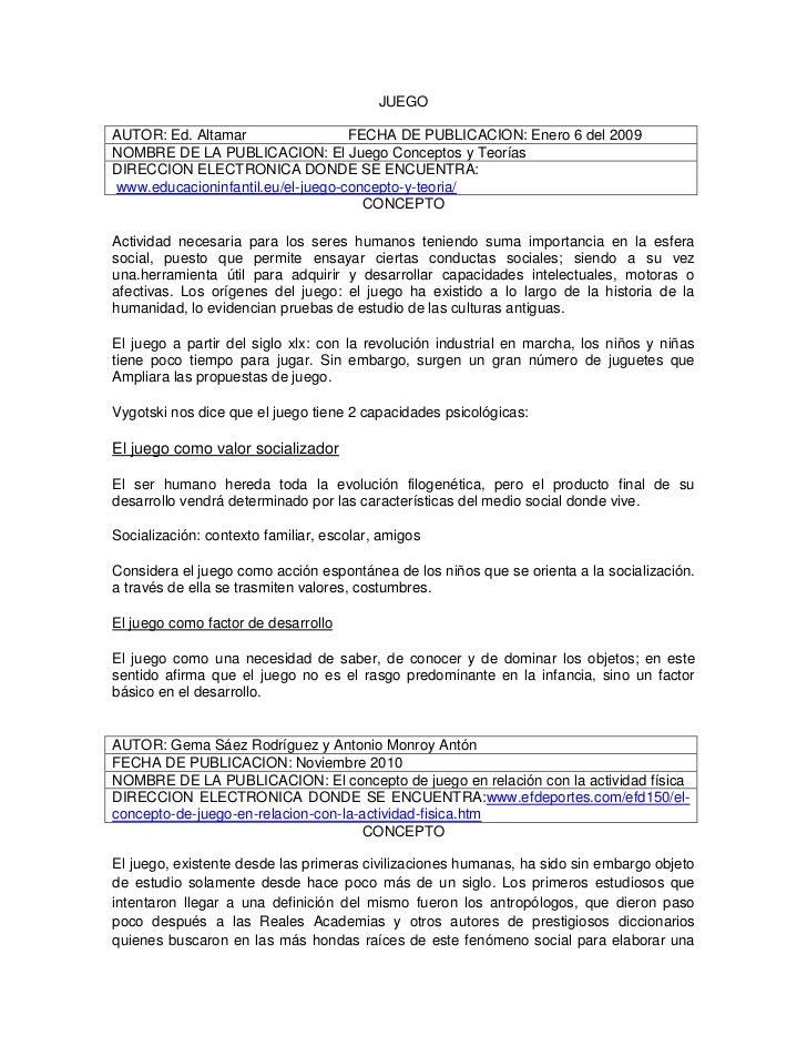 JUEGOAUTOR: Ed. Altamar                 FECHA DE PUBLICACION: Enero 6 del 2009NOMBRE DE LA PUBLICACION: El Juego Conceptos...