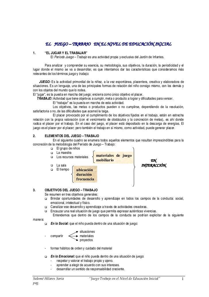 """EL JUEGO – TRABAJO EN EL NIVEL DE EDUCACIÓN INICIAL                    EGO                          ED 1.        """"EL JUGAR..."""
