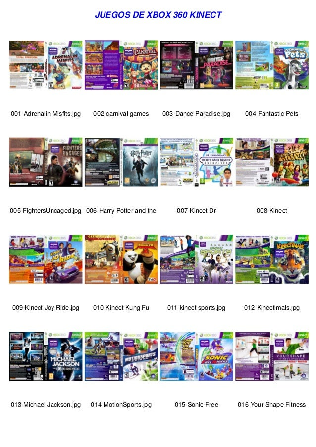 JUEGOS DE XBOX 360 KINECT  001-Adrenalin Misfits.jpg  002-carnival games  005-FightersUncaged.jpg 006-Harry Potter and the...