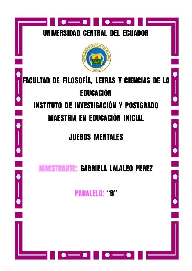 UNIVERSIDAD CENTRAL DEL ECUADOR  FACULTAD DE FILOSOFÍA, LETRAS Y CIENCIAS DE LA EDUCACIÓN INSTITUTO DE INVESTIGACIÓN Y POS...