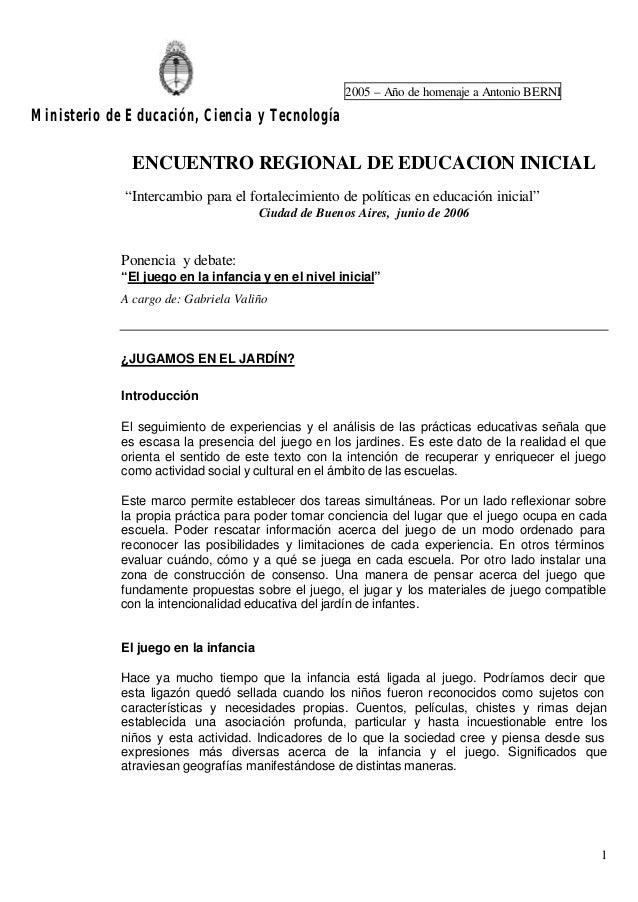 2005 – Año de homenaje a Antonio BERNI  Ministerio de Educación, Ciencia y Tecnología  ENCUENTRO REGIONAL DE EDUCACION INI...
