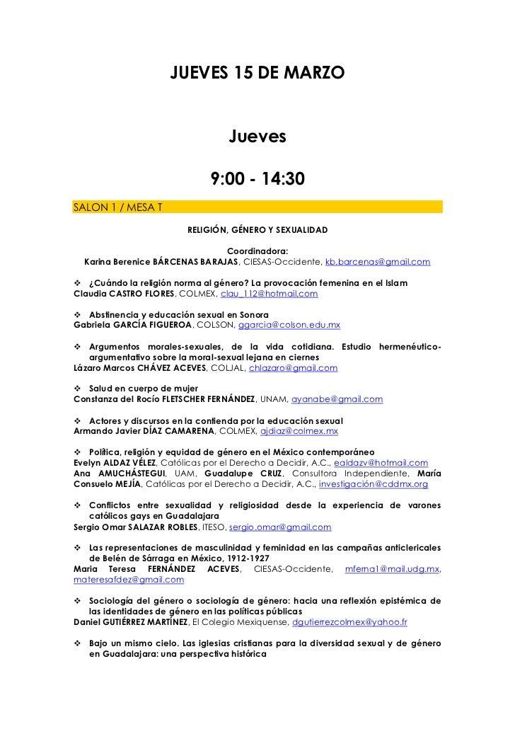 JUEVES 15 DE MARZO                                   Jueves                               9:00 - 14:30SALON 1 / MESA T    ...