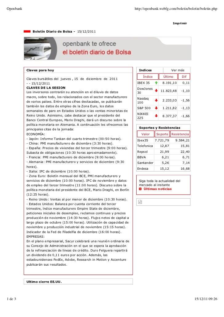 Boletín diario 15/12/11