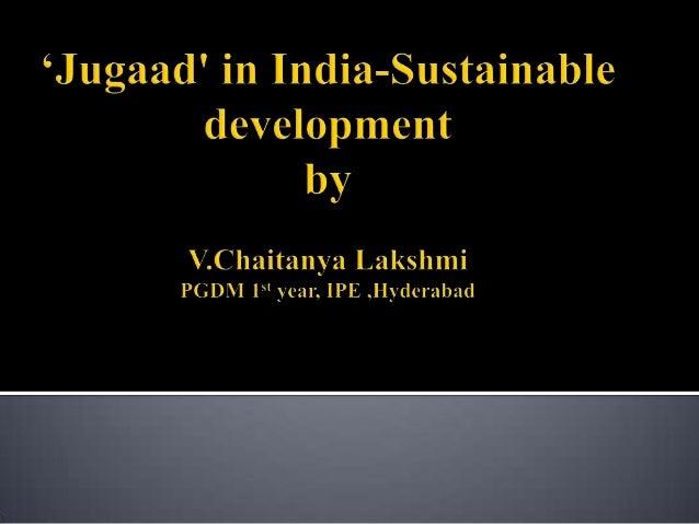 Jugaad' in india -Sustainable development