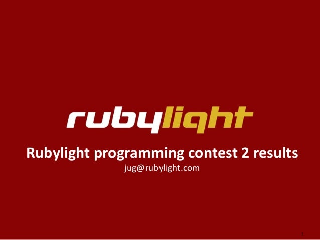 Rubylight JUG Contest Results Part II