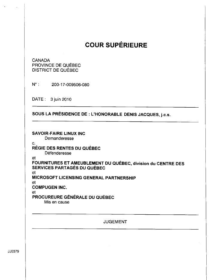 Jugement LINUX vs Gouvernement du Québec