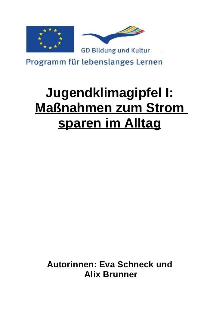 Jugendklimagipfel I:Maßnahmen zum Strom   sparen im Alltag Autorinnen: Eva Schneck und         Alix Brunner