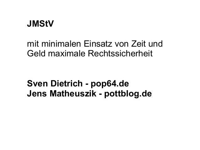 JMStV mit minimalen Einsatz von Zeit und Geld maximale Rechtssicherheit  SvenDietrich-pop64.de JensMatheuszik-pot...