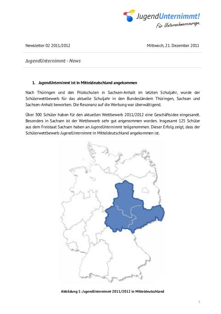 Newsletter 02 2011/2012                                              Mittwoch, 21. Dezember 2011JugendUnternimmt - News   ...