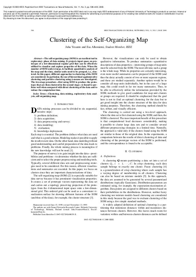 Copyright © 2000 IEEE. Reprinted from IEEE Transactions on Neural Networks, Vol. 11, No. 3, pp. 586–600, 2000. This materi...