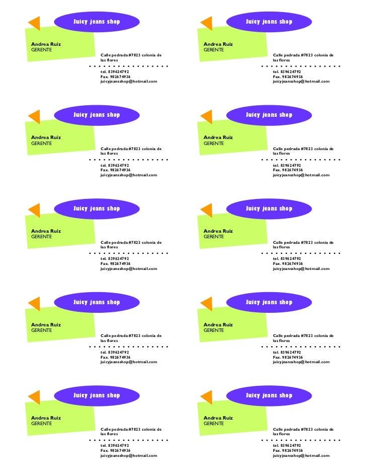 Juicy tarjeta de presentacion