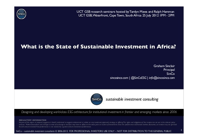 SinCo – sustainable investment consultants © 2006-2012 FOR PROFESSIONAL INVESTORS USE ONLY – NOT FOR DISTRIBUTION TO THE G...