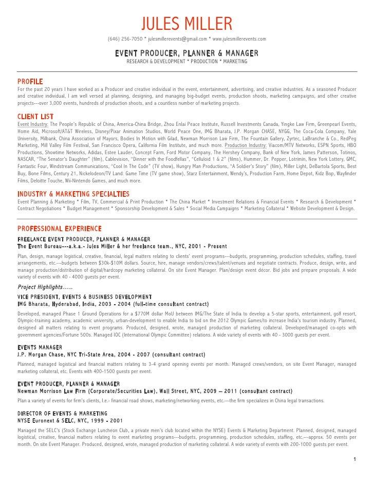 Resume Event Manager. event management resume best resume sample ...