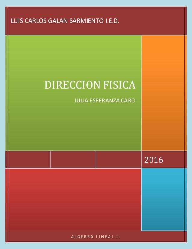 A L G E B R A L I N E A L I I 2016 DIRECCION FISICA JULIA ESPERANZA CARO LUIS CARLOS GALAN SARMIENTO I.E.D.