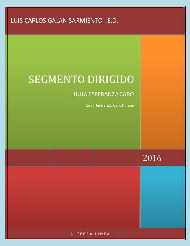 A L G E B R A L I N E A L I I 2016 SEGMENTO DIRIGIDO JULIA ESPERANZA CARO Saul Hernando Caro Pinzon LUIS CARLOS GALAN SARM...
