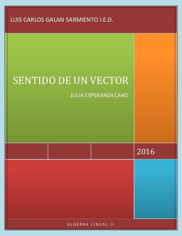 A L G E B R A L I N E A L I I 2016 SENTIDO DE UN VECTOR JULIA ESPERANZA CARO LUIS CARLOS GALAN SARMIENTO I.E.D.