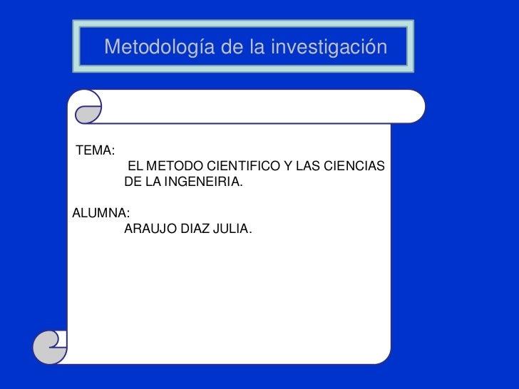 Metodología de la investigación<br />TEMA:<br /> EL METODO CIENTIFICO Y LAS CIENCIAS DE LA INGENEIRIA.<br />ALUMNA:<br ...