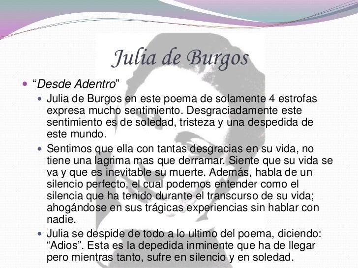 analisis a julia de burgos Título: a julia de burgos – 1939 de poemas en 20 surcos autor: julia de burgos - puerto rico (1914-1953) personajes: la voz poética, julia de burgos.