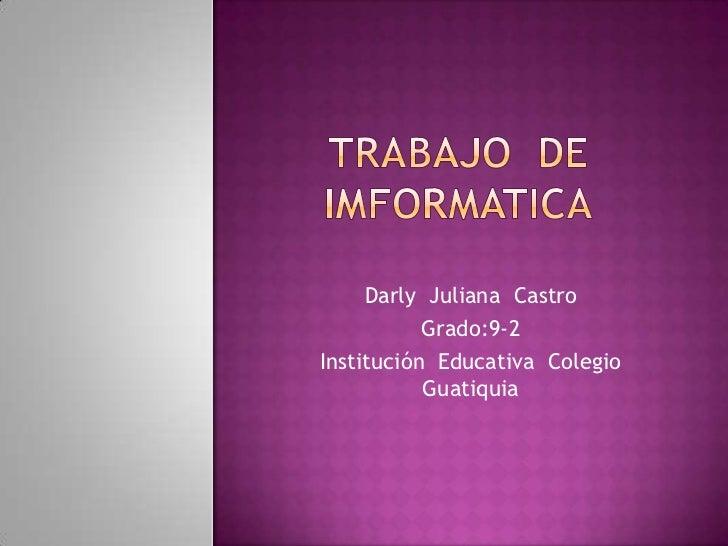 Darly Juliana Castro           Grado:9-2Institución Educativa Colegio           Guatiquia