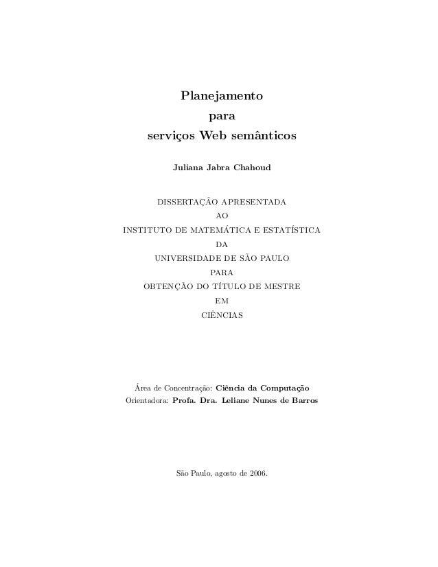 Dissertação de Mestrado - Planejamento para Serviços Web Semânticos