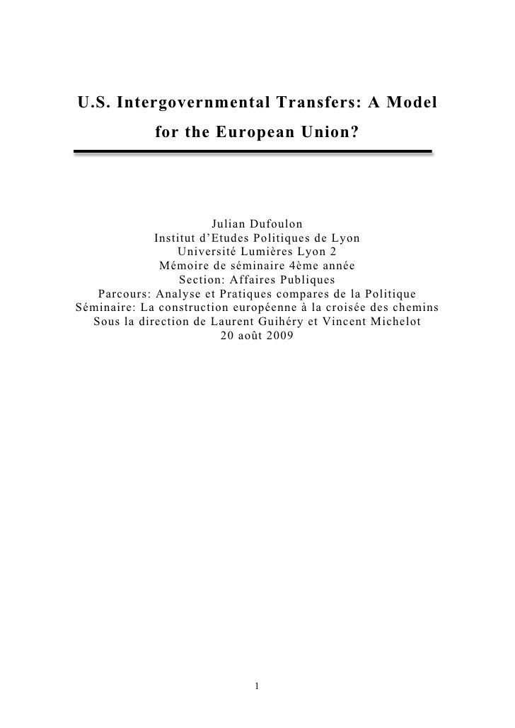 US Intergovernmental Transfers: A Model Forthe Eu