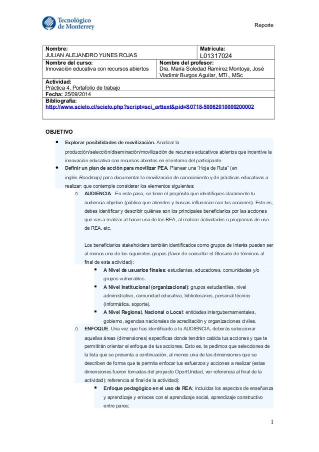 Reporte  Nombre:  JULIAN ALEJANDRO YUNES ROJAS  Matrícula:  L01317024  Nombre del curso:  Innovación educativa con recurso...