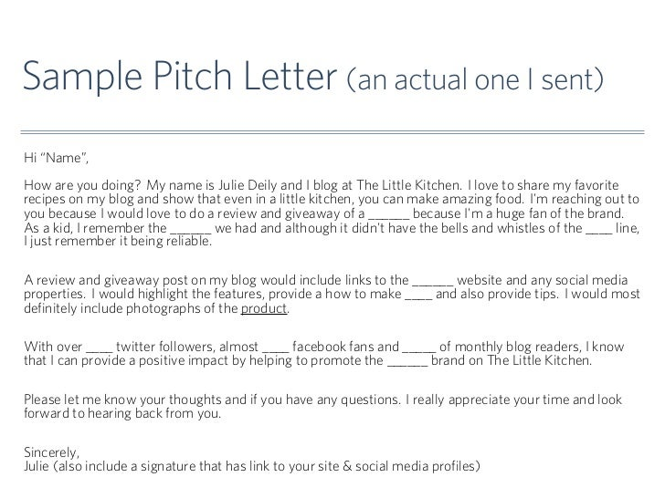 Sample pitch letter an actual for Blogger product review template