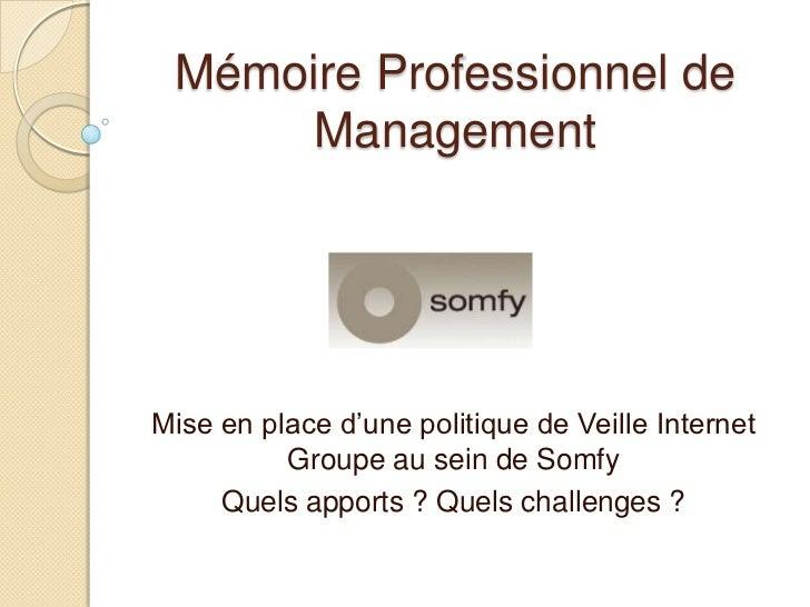 Mémoire Professionnel de      ManagementMise en place d'une politique de Veille Internet          Groupe au sein de Somfy ...
