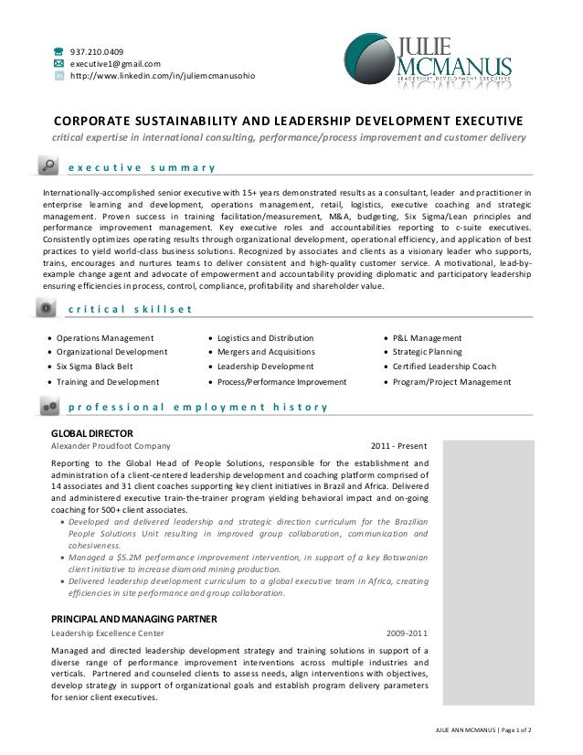 resume of julie mcmanus leadership and sustainability