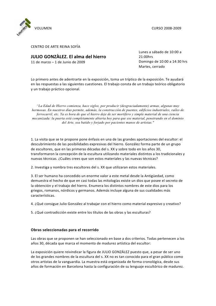 VOLUMEN                                                                         CURSO 2008-2009    CENTRO DE ARTE REINA SO...