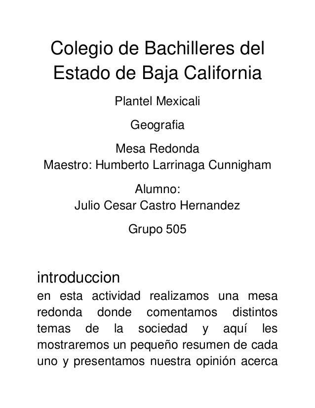 Colegio de Bachilleres del  Estado de Baja California            Plantel Mexicali               Geografia            Mesa ...