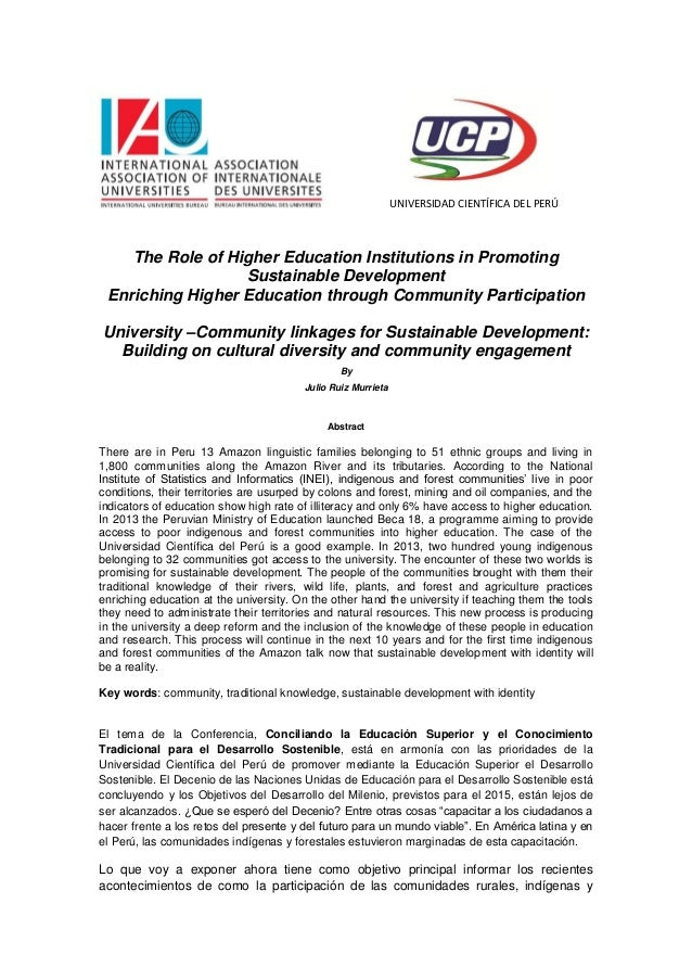 UNIVERSIDAD CIENTÍFICA DEL PERÚ The Role of Higher Education Institutions in Promoting Sustainable Development Enriching H...