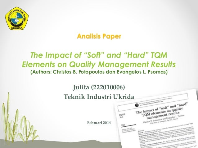 Introduction and Implementation of Total Quality Management (TQM)