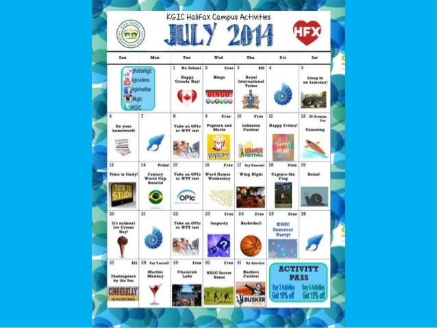 KGIC Halifax- July Activities