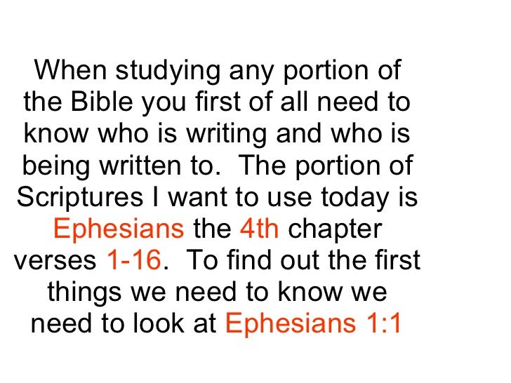 When studying any portion of the Bible you first of all need to know who is writing and who is being written to.  The port...