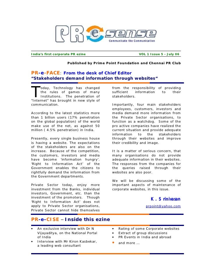 India's first corporate PR ezine                         VOL 1 Issue 5 - July 06                       Published by Prime ...
