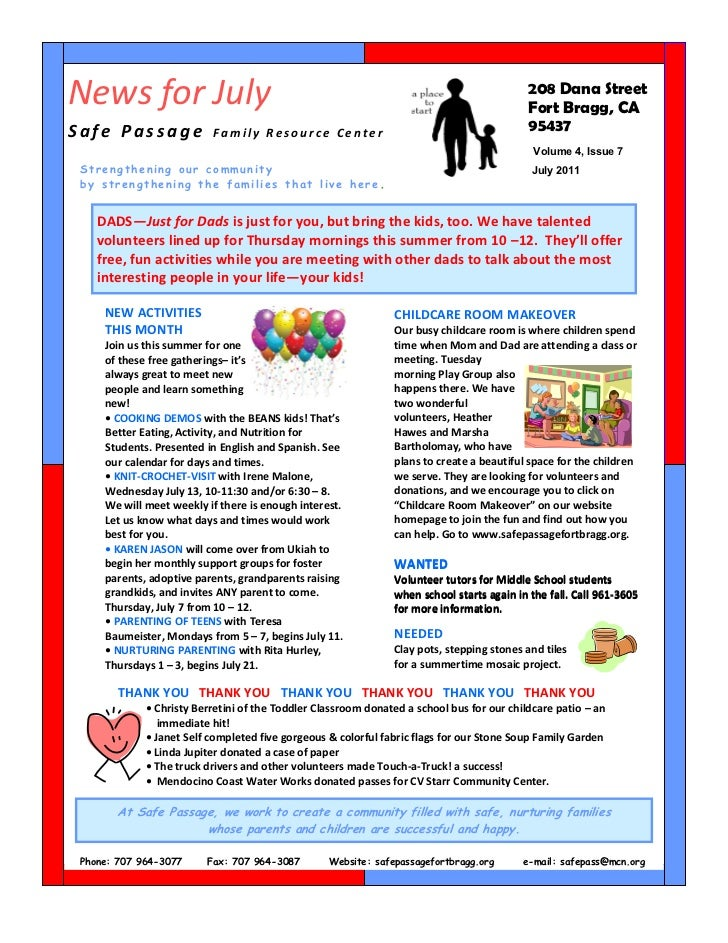 July 2011 Newsletter    Safe  Passage