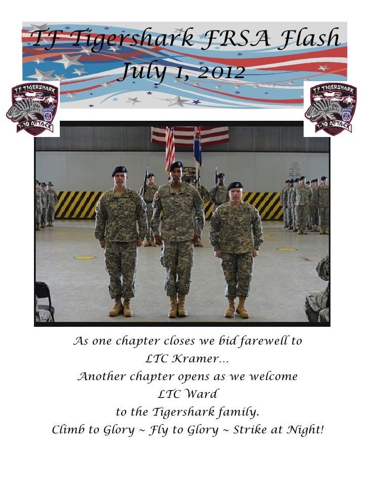 TF Tigershark FRSA Flash       July 1, 2012    As one chapter closes we bid farewell to                 LTC Kramer…     An...