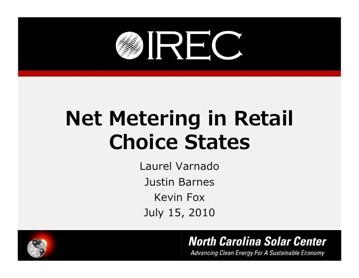 Net metering in retail choice states for First choice retail