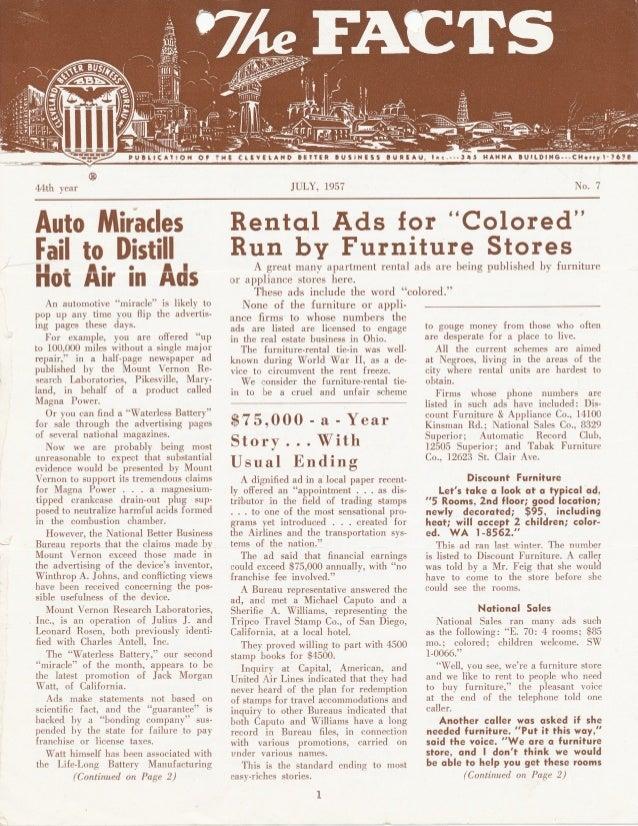 BBB Cleveland July 1957 Newsletter