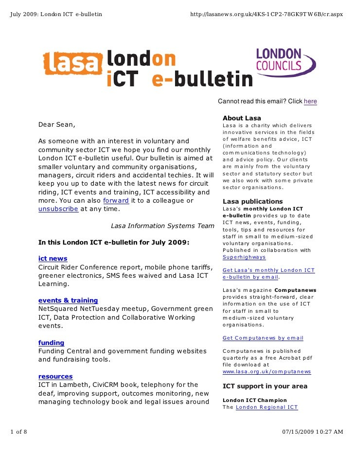 July 2009: London ICT e-bulletin                         http://lasanews.org.uk/4KS-1CP2-78GK9T W6B/cr.aspx               ...