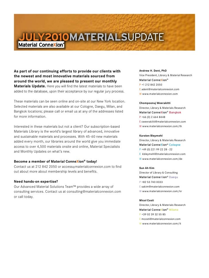 July 2010   material connexion - New materials update