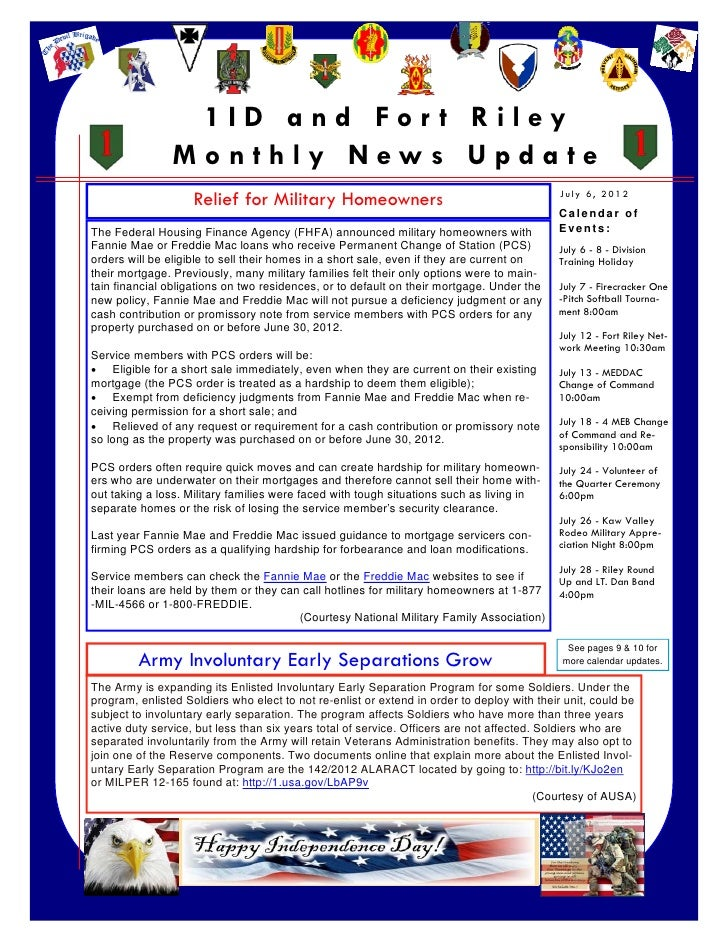 1ID and For t Riley                    Monthly News Update                        Relief for Military Homeowners          ...
