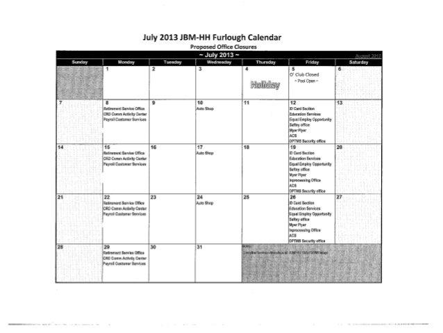 July JBM-HH Furlough Closures