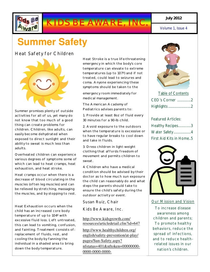 July 2012                   KIDS BE AWARE, INC.                                                  Volume 1, Issue 4 Summer ...