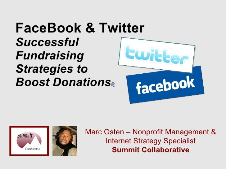 FaceBook & Twitter  Successful  Fundraising  Strategies to  Boost Donations Marc Osten – Nonprofit Management & Internet S...