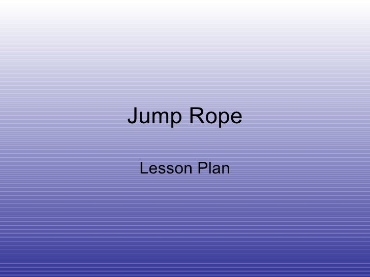 Jump Rope Lesson Plan