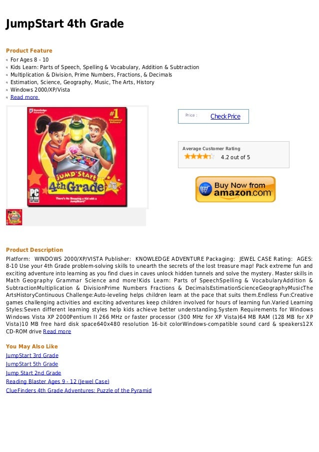 JumpStart 4th GradeProduct Featureq   For Ages 8 - 10q   Kids Learn: Parts of Speech, Spelling & Vocabulary, Addition & Su...